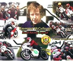 !SPECIAL OFFER! - RAY McCULLOUGH SIGNED Collage Print Isle of Man TT Ulster Grand Prix Joey Dunlop