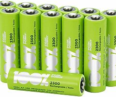 12 x AA Rechargeable batteries 2300 mAh 100% PeakPower NiMH Battery