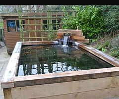 Wooden pond for koi and goldfish.    Won't be beaten on price call for a quote