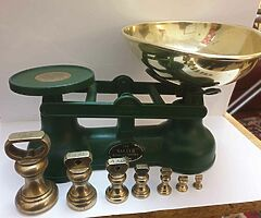 Original salters scales in green with original full set of brass bell weights bargain can deliver - Image 1/5